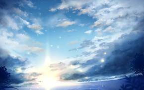 Картинка море, небо, солнце, закат, природа