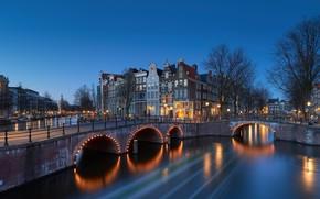 Картинка мост, огни, вечер, Нидерланды, Amsterdam, Голландия
