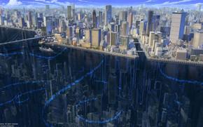Картинка Отражение, Город, Река, Здания, City, Судно, Архитектура, Bridge, Небоскрёбы, River, Транспорт, Buildings, Architecture, Подводный город, …
