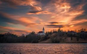 Картинка небо, река, дома, вечер, Норвегия, Norway, Ole Henrik Skjelstad