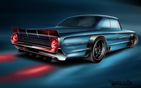 Картинка Ford, Авто, Рисунок, Машина, Galaxie, Арт, Vehicles, Ford Galaxie, Transport, Transport & Vehicles, Andreas Hoås …