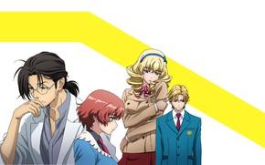 Картинка девушки, парни, персонажи, жёлтая полоса, Kakumeiki Valvrave, Вальврэйв Освободитель