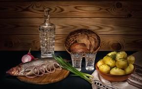 Картинка лук, водка, селёдка, картошка