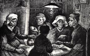 Картинка Винсент ван Гог, The Potato Eaters, Lithos