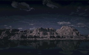 Картинка HDR, Heaven, Clouds, Sky, Rock, Stars, Night, Game, Flow, UHD, Red Dead Redemption 2, Xbox …