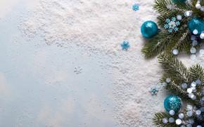 Картинка снег, снежинки, шары, елка, Новый Год, Рождество, Christmas, balls, wood, blue, snow, New Year, snowflakes, ...