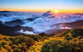 Картинка небо, солнце, облака, лучи, свет, горы, туман, синева, холмы, растительность, склоны, высота, утро, горизонт, Азия, …