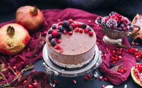 Картинка ягоды, торт, гранаты
