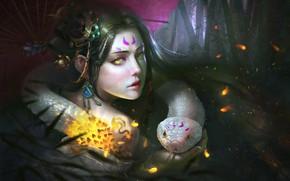 Картинка взгляд, девушка, лицо, цвет, змея, зонт, фэнтези, арт, желтые глаза