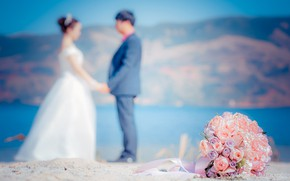 Картинка любовь, цветы, букет, пара, love, happy, pink, свадьба, flowers, romantic, day, couple, wedding, wedding bouquet, …