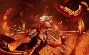 Картинка девушка, птица, эльфийка