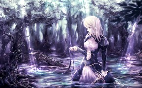 Картинка лес, девушка, озеро, меч, лента, сейбер, Судьба ночь схватки, Fate / Stay Night