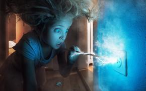 Картинка электричество, девочка, розетка