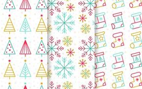 Картинка снежинки, текстура, белый фон, christmas, ёлки, pattern