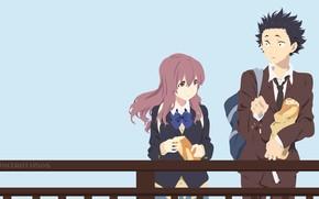 Картинка девушка, мост, хлеб, Аниме, парень, батон, 2016, Koe no Katachi, A Silent Voice, Форма Голоса