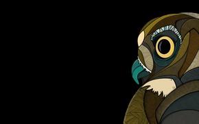Картинка абстракция, сова, птица, клюв