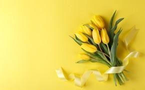 Картинка цветы, букет, лента, желтые тюльпаны