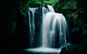 Картинка скалы, водопад, полумрак, папоротник