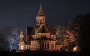 Картинка ночь, церковь, St Paul`s Church