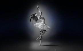 Картинка Девушка, Минимализм, Рисунок, Girl, Танец, Фон, Art, Балерина, 6th Nov, Francis Law, by Francis Law