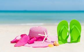 Картинка песок, пляж, отдых, звезда, шляпа, ракушки, summer, beach, каникулы, sand, marine, сланцы, vacation, starfish, seashells