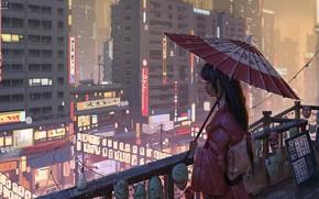 Картинка зонт, Япония, фонари, гейша, вывески, кимоно, маски, мегаполис, огни ночного города, на балконе, городская улица, …