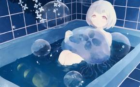 Картинка девушка, луна, фэнтези, медузы, ванна