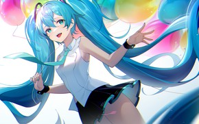 Картинка девушка, Hatsune Miku, Vocaloid, воздушные шарики