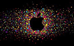 Картинка круги, чёрный, apple, яблоко, black, fon, circle