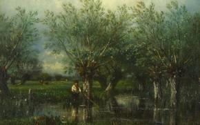 Картинка пейзаж, картина, Jules-Louis Dupre, Ивы и Рыбак, Жюль Дюпре