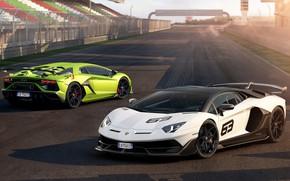Картинка Lamborghini, пара, суперкар, гоночный трек, 2018, Aventador, Aventador SVJ, SVJ 63