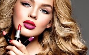 Картинка взгляд, лицо, модель, портрет, макияж, прическа, блондинка, кудряшки, локоны, model, makeup, помады