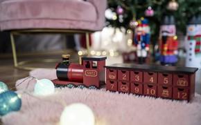Картинка праздник, игрушка, Рождество, Новый год, паровозик, новогодние украшения, новогодние декорации