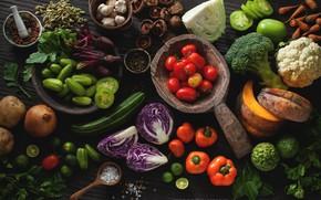 Картинка грибы, тыква, лайм, перец, овощи, семечки, помидоры, морковь, капуста, петрушка, гранат, специи, чеснок, брокколи, соль, …