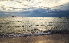 Картинка песок, море, волны, пляж, лето, закат, summer, beach, sea, sunset, blue, seascape, sand, wave