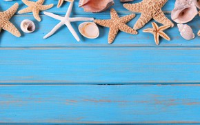Картинка пляж, фон, доски, звезда, ракушки, summer, beach, wood, marine, starfish, seashells