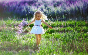 Картинка поле, лето, радость, природа, букет, платье, девочка, травы, малышка, ребёнок, лаванда, Anna Sapegina