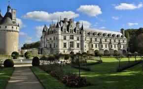 Картинка деревья, парк, замок, Франция, башня, сад, фонтан, архитектура, France, Château de Chenonceau, Замок Шенонсо, Долина …