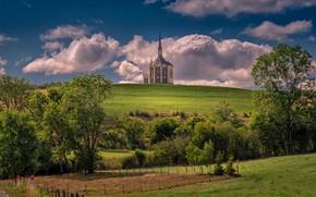 Картинка Франция, холм, церковь, Doubs