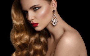 Картинка hot, model, face, red lips, makeup, ear ring