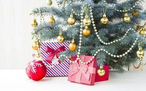 Картинка украшения, праздник, игрушки, новый год, подарки, ёлка, коробки