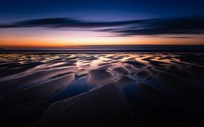 Картинка залив, пляж, море, вечер, ночь, небо