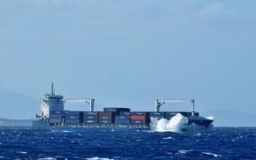 Картинка море, шторм, контейнеровоз