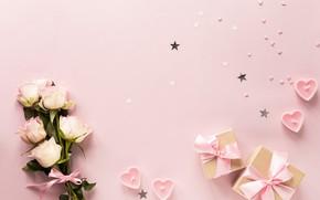 Картинка свечи, лента, подарки, день святого валентина, розочки