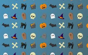 Обои кошка, череп, шляпа, кости, Хэллоуин, котел, светильник Джека, летячая мышь