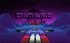 Картинка Музыка, Фон, City, Car, Stars, Neon, Illustration, Synth, Retrowave, Synthwave, New Retro Wave, Futuresynth, Синтвейв, ...