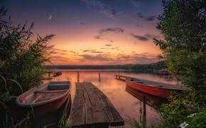 Обои закат, озеро, Англия, лодки, England, Северный Йоркшир, Йоркширские долины, Yorkshire Dales, North Yorkshire, Озеро Эмбсей, ...