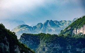 Картинка Природа, Горы, Деревья, Гора, Лес, Пейзаж, Nature, Sky, Landscape, Italy, Mountain, Mountains, Forest, Trees, Woods, …