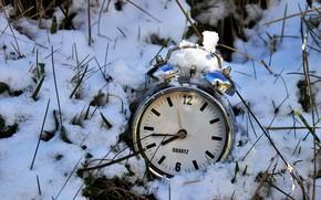 Картинка снег, время, часы, будильник
