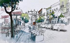 Картинка город, рисунок, Andalusia, Tarifa